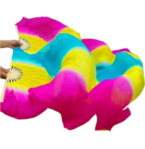 Women's indian queen belly dance rainbow colored hand fans modern dance stage performance props 1.8m one pair