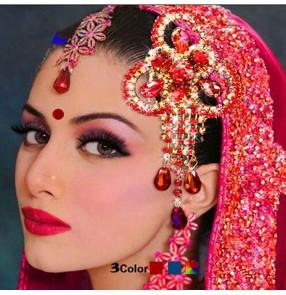 Women's Indian queen dance belly dance headdress rhinestones stage performance  modern dance hair comb hair accessories