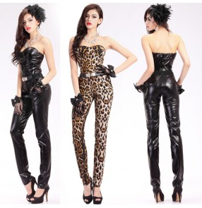 Women's jazz dance bodysuits black leopard leather  pole dance costumes singers gogo dancers model modern dance night club pole dancing jumpsuits
