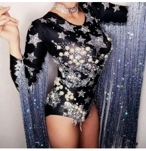 Women's jazz dance bodysuits fringes host singers gogo dancers stage performance lead dancers night club dj photos cosplay jumpsuits leotards