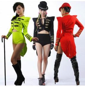 Women's jazz dance costumes singers gogo dancers magician night club pole dance tuxedo tops ( only top)