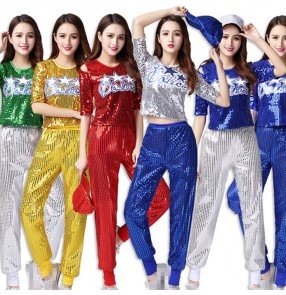 Women's jazz dance outfits girls growth paillette royal blue black red cheer leaders hiphop stage performance modern dance singers group dancers outfits