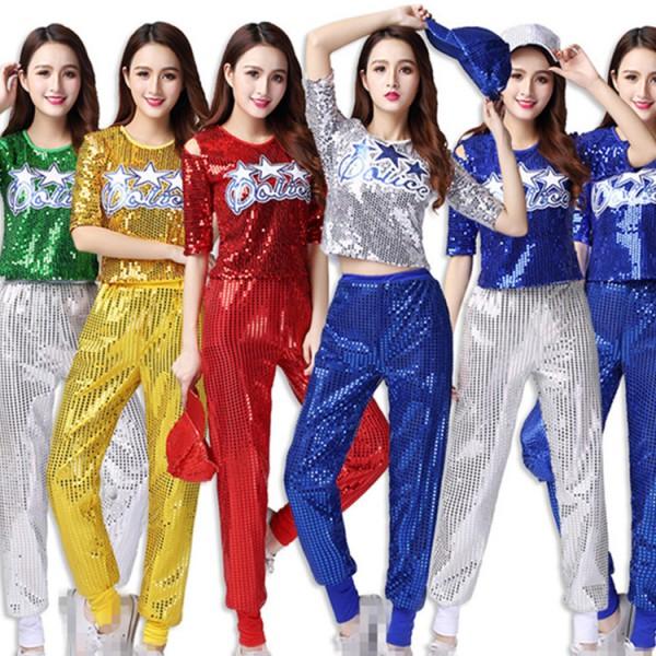 women s jazz dance outfits girls growth paillette royal blue black