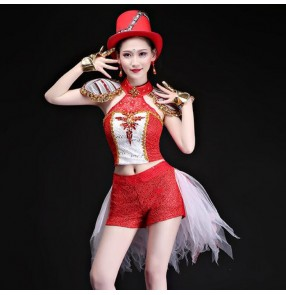 Women's jazz dance outfits red paillette modern dance stage performance magician singers gogo dancers cosplay performance costumes