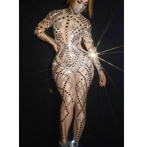 Women's jazz dance sequins rompers Bar performance clothing nightclub ds sexy fashion women photos shooting gogo dancers jumpsuits
