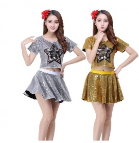 Women's jazz modern dance costumes paillette night club girls cheerleaders gogo dancers hip hop dance outfits tops and skirts