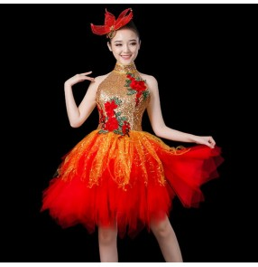 Women's jazz singers cocktail party dance dresses red gold black paillette moder dance gogo dancers photos dance studio cosplay dresses
