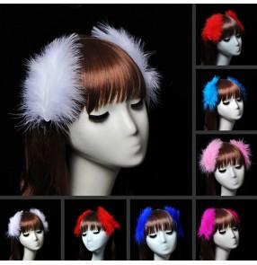 Women's kids ballet dance feather headdress stage performance hair accessories one pair