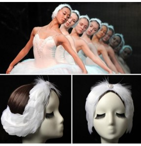 Women's kids ballet dance swan feather headdress swan lake solo ballerina stage performance hair piece