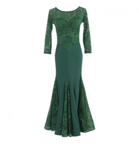 Women's lace ballroom dance dresses dark green blue Modern national standard dancer three-quarter sleeve ballroom dance round neck lace waltz practice dress
