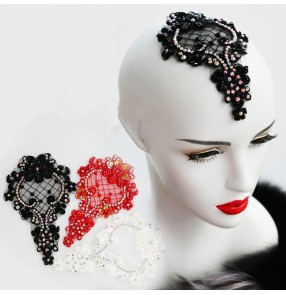 Women's lace rhinestones competition latin waltz ballroom dance headdress hair accessories