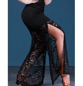 Women's lace side split wide leg latin ballroom dance pants salsa chacha rumba dance long trousers