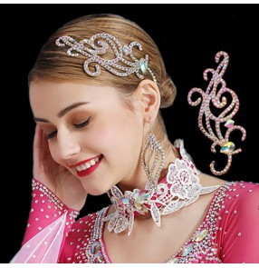 Women's latin ballroom waltz tango dance rhinestones headdress stage performance competition dance head accessories