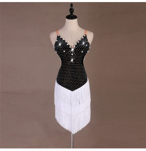 Women's latin dance dress black with white tassels rhinestones professional salsa rumba samba dance skirts dress
