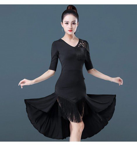 6e3e6316a66fa Women's latin dance dresses female girls lace tassels stage performance rumba  samba chacha salsa dance dresses