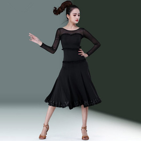 3aa611ef86c3 Women's latin dance dresses girl's black colored competition stage  performance professional salsa rumba chacha dance costumes skirts dress