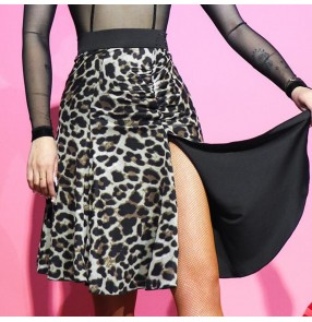 Women's leopard black Latin dance skirts modern dance double side wear two colors chacha dance skirts half-length skirt women's two-wear skirt split half skirt