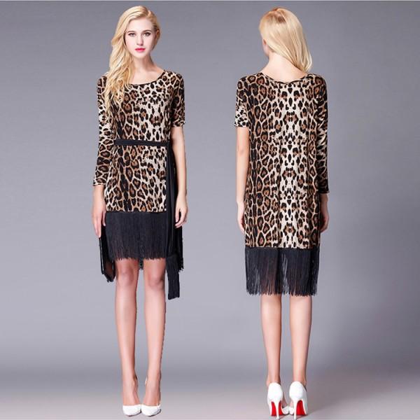timeless design d10c1 14c36 Women's leopard flapper latin dance dresses vestito da ballo moderno latino  fringes tassel rumba salsa chacha dance skirts costumes