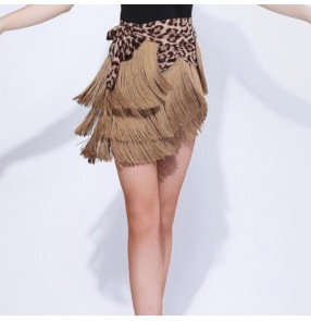 Women's leopard fringes triangle latin dance wrap skirts hip scarf salsa chacha dance skirts