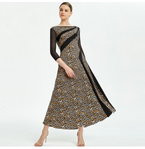 Women's leopard lace ballroom dancing dress female competition waltz tango dance dresses