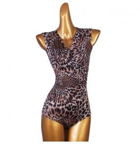 Women's leopard latin dance bodysuits ballroom chacha rumba salsa dance tops body de danse latine pour femme