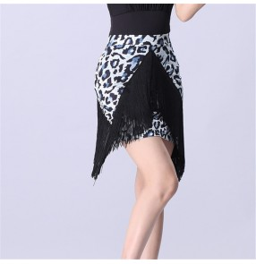 women's leopard Latin dance tassels skirts irregular hem salsa skirts for female leopard print fringe stitching bottoms adult Latin dance skirt