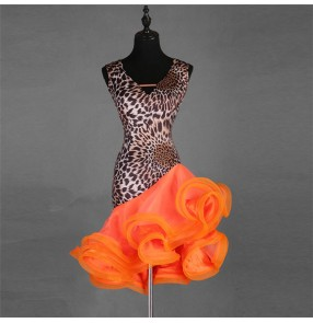 Women's leopard latin rumba dance dresses professional modern dance stage performance samba chacha dance skirts costumes dresses