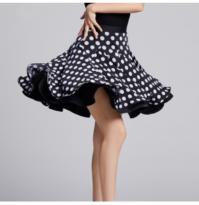 Women's leopard polka dot latin dance skirts double layers stage performance rumba samba chacha dance skirts
