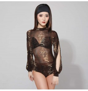 Women's leopard tiger printed see though latin ballroom dance bodysuits salsa chacha dance fashion body tops