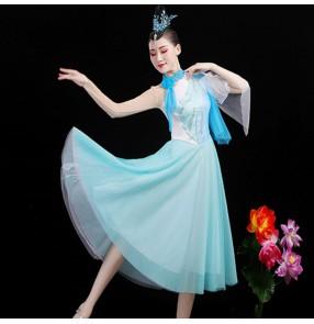 Women's light blue modern dance dresses choir singers performance dress anniversary carnival party performing dresses
