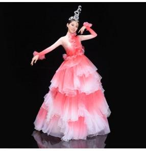 Women's light pink petals opening dance dress dancers modern dance dress chorus singers host stage performance dress costumes