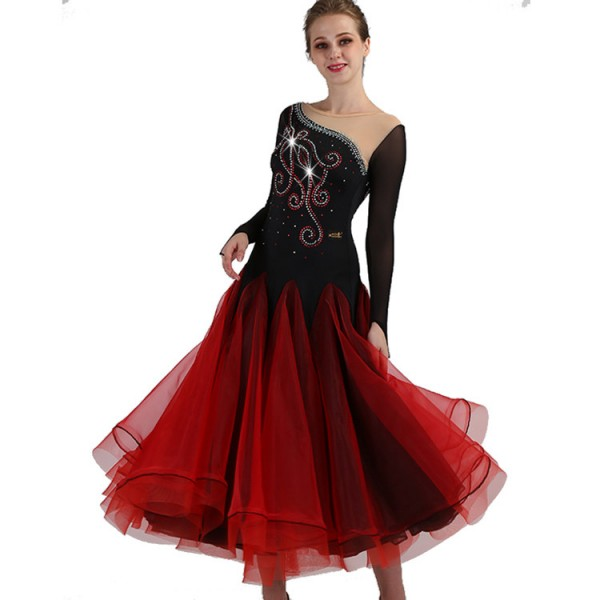 edc7df177e6 Women s long length ballroom dance dresses competition waltz tango diamond  black and red professional dance dresses
