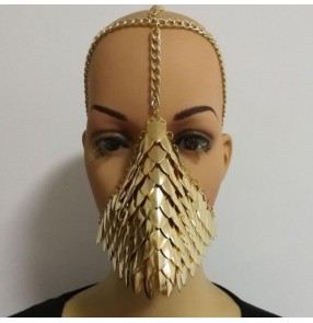 Women's male jazz punk rock dance mask metal silver gold colored pole dance masquerade cosplay face cover mask