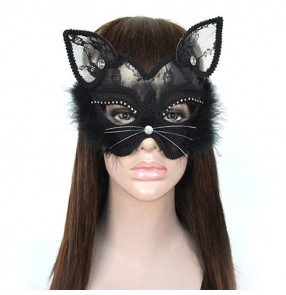 Women's masquerade party singers dancers feather lace black cat mask stage performance night club cosplay face cover mask
