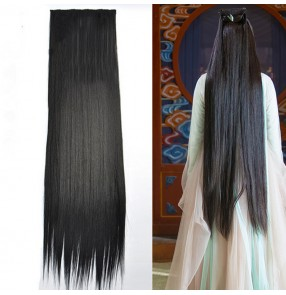 Women's  men Chinese ancient hanfu hair piece swordsmen fairy cosplay long hair piece traditional classical dance straight long hair wig