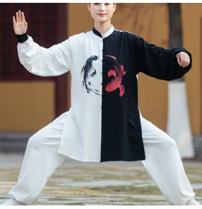 Women's men chinese Taichi kungfu uniforms black with white patchwork wushu martial arty competition clothing