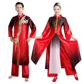 Women's men's chinese folk dance costumes dragon drummer dance costumes traditional yangko umbrella dance costumes