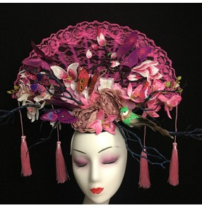 Women's model show stage performance pillbox hat hair accessories chinese style headdress