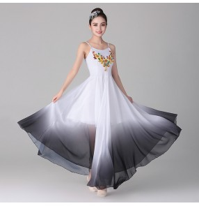 Women's modern dance ballet dance dress white with black gradient dancers stage performance classical dance dress