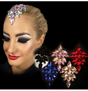 Women's modern dance crystal hair accessories diamond rhinestones professional competition headdress