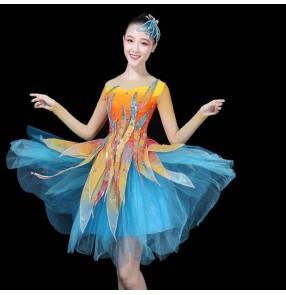 Women's modern dance dress blue pink petals singers dancers stage perforformance dresses