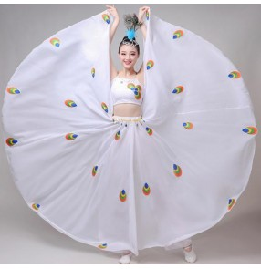 Women's modern dance dress white peacock dance performance dress opening dance costumes