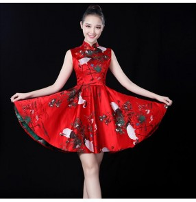 Women's modern dance dresses red printed singers dancers stage performance photos video cosplay qipao dresses
