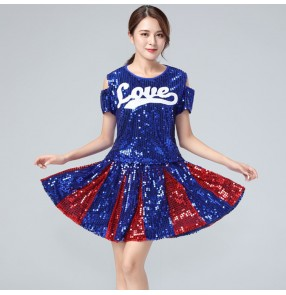 Women's modern dance jazz singers gogo dancers costumes night club cheerleaders stage performance outfits tops and skirts