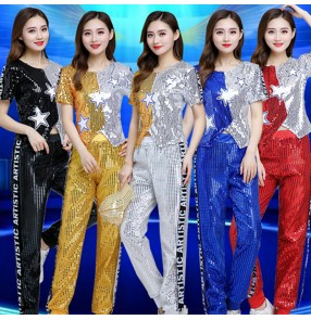 Women's modern dance sequins jazz dance top and pants hiphop street dance costumes cheerleaders performing costumes