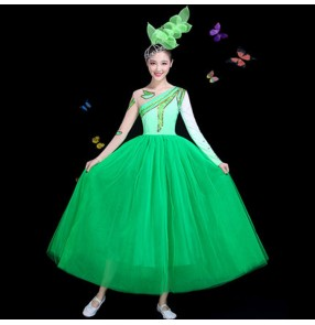 Women's modern dance singers chorus dresses drama photos video cosplay stage performance gradient green colored long dresses