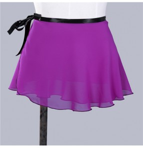 Women's modern dance wrap skirt white red violet black fitness sports practice latin ballroom dance gymnastics stage performance skirt