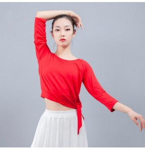 Women's modern dance yoga fitnss sports tops modal ballet latin dance wrap tops for exercises practice dance t shirts