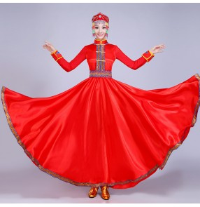 Women's Mongolian dance costumes dresses red Chinese folk dance costumes for female riding dance drama cosplay dress