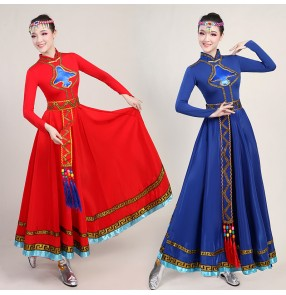 Women's mongolian dance costumes red royal blue mongolia drama cosplay robes dresses